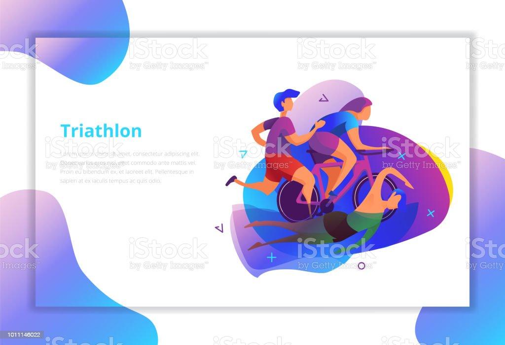 Triathlon vector illustration. Sport and activity landing page. - illustrazione arte vettoriale