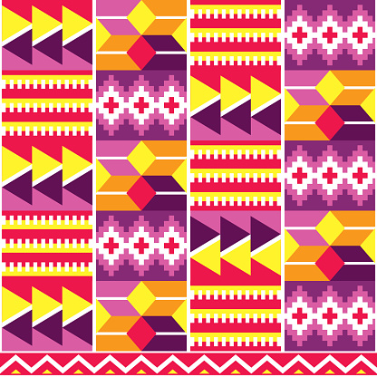 Tribal african cool geometric seamless vector pattern, inspired by Kente nwentoma style designs from Ghana