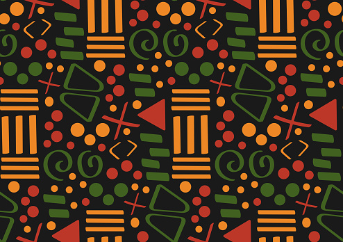 Tribal African ethnic seamless pattern with simple lines and figures in red, yellow and green. Vector traditional black background, textile, paper, fabric. Kwanzaa, Black history month, Juneteenth