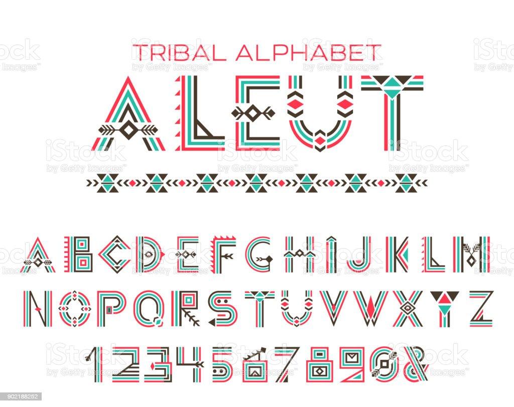 部族のアレウト語アルファベット...