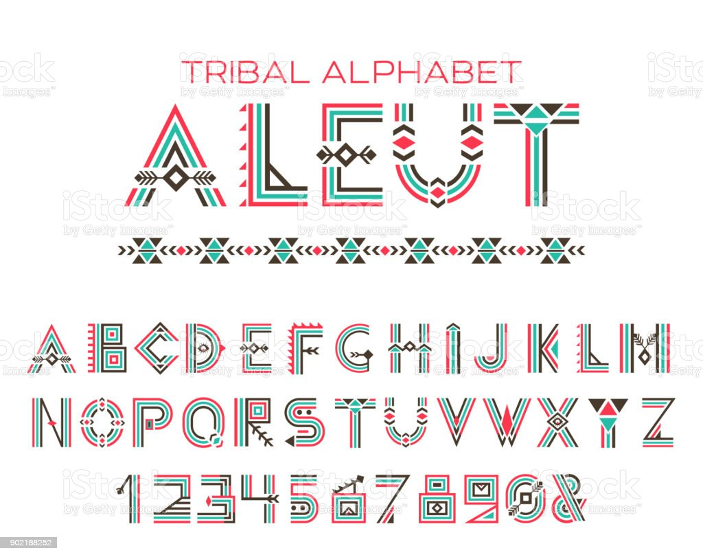 Tribal Aleut alphabet vector art illustration
