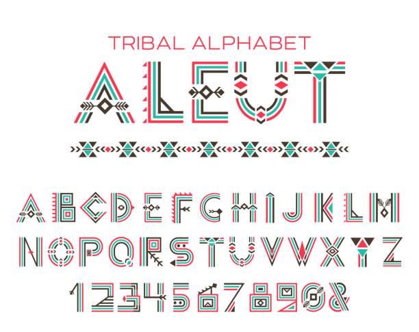 stockillustraties, clipart, cartoons en iconen met tribal aleut alfabet - tribale kunst