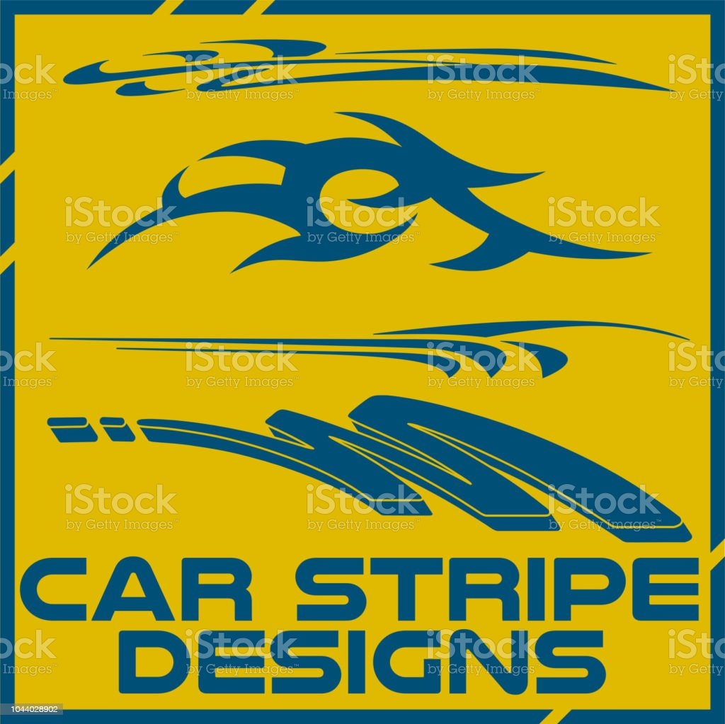 Tribal and cool car stripe design set adhesive vinyl sticker designs illustration
