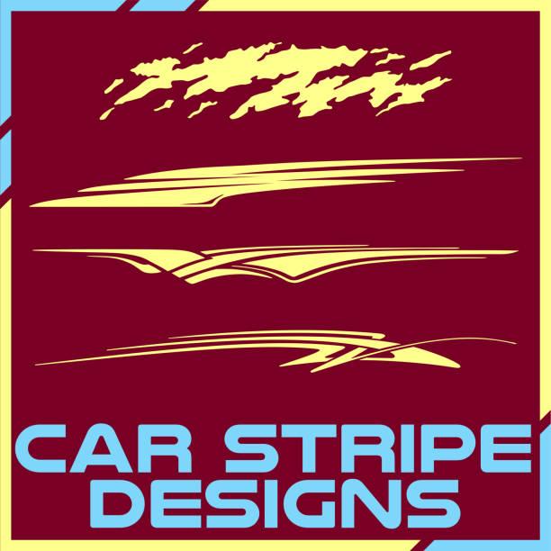 tribal and cool car stripe design set. adhesive vinyl sticker designs - race stock illustrations