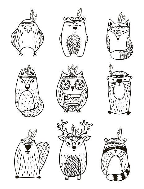 Tribal Animal collection - Illustration Set of vector hand drawn indian totem animal. beaver stock illustrations