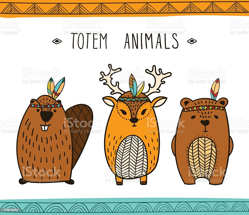 Tribal collection d'animaux-Illustration - Illustration vectorielle