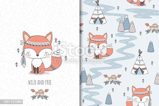 Tribal animal fox card and seamless pattern