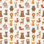 Tribal animal seamless pattern. Ethnic style animals vector texture. Illustration of indian lama and racoon, rabbit and fox
