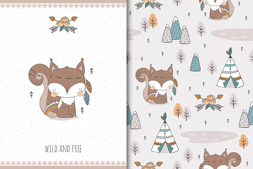 Tribal animal squirrel card and seamless pattern