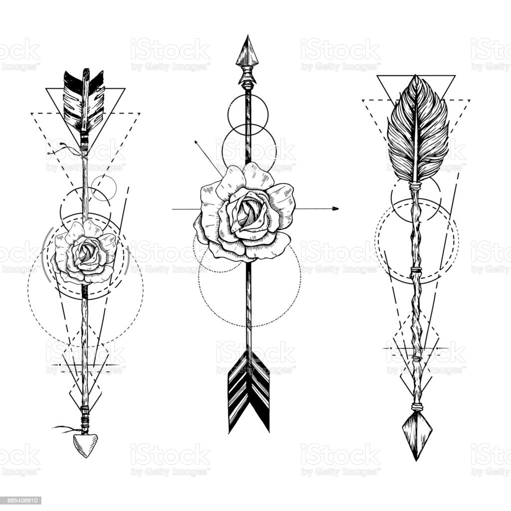 Tribal arrow in ethnical pattern with feathers and roses vector art illustration