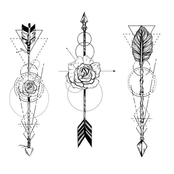 stammes-pfeil in ethnischen muster mit rosen und federn - boho stock-grafiken, -clipart, -cartoons und -symbole