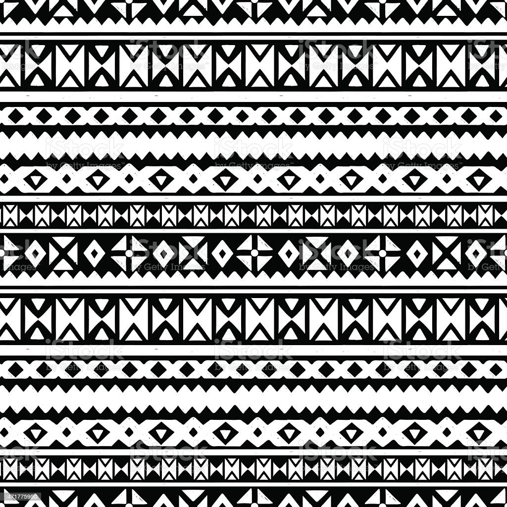 Tribal art aztec ethnic seamless pattern vector art illustration