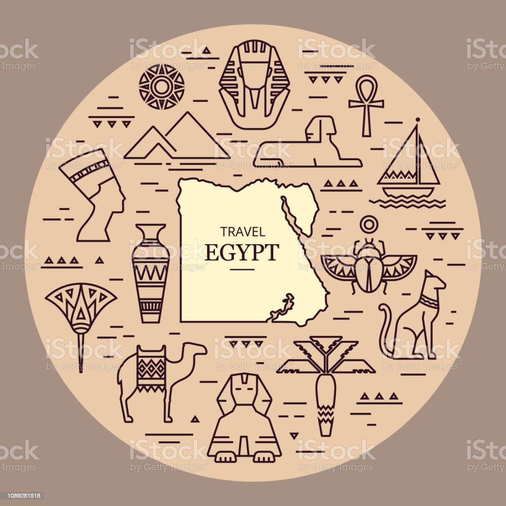 57fe17166 Tribal art Egyptian ethnic icon. Egypt sketch cartoon hand drawn black  silhouettes isolated on a