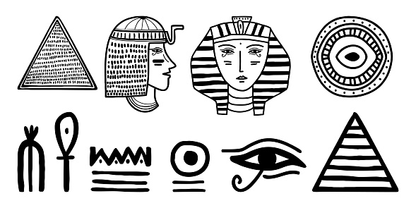 Tribal art Egyptian ethnic icon. Egypt sketch cartoon hand drawn black silhouettes isolated on a white background. Vector tribal ethnic. Can be used for cloth, flyers, bags, furniture, and tattoo