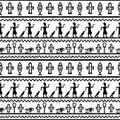 Tribal art Egyptian vintage ethnic seamless borders pattern