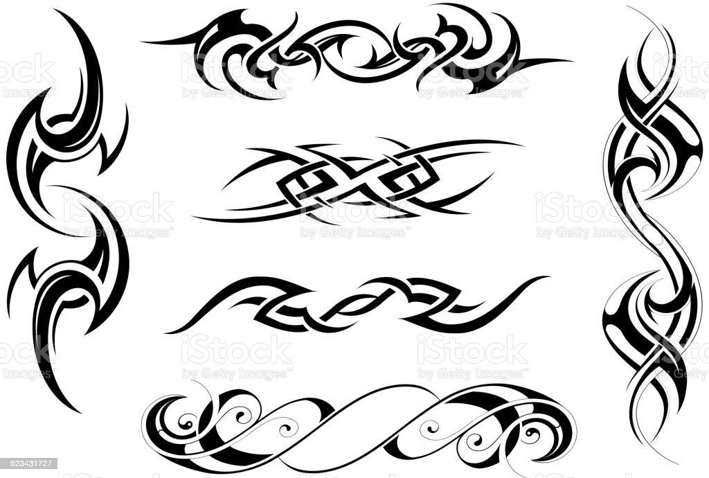 Tribal art set vector art illustration