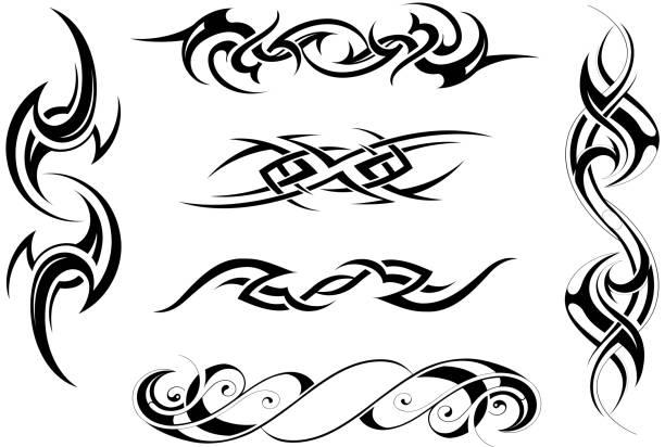 Tribal art set Set of six tribal ornaments based on various ethnic styles maori tattoos stock illustrations