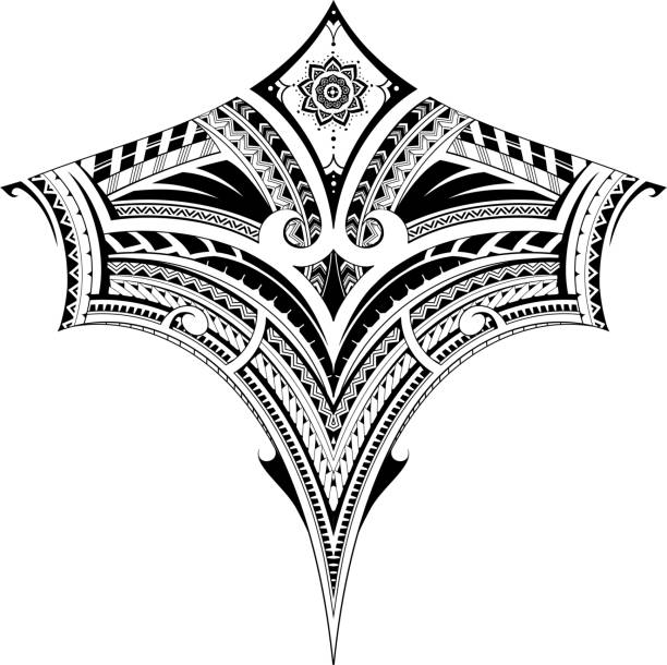 Tribal art tattoo for chest and back area Polynesian style ornament, good for back tattoo or sleeve pattern maori tattoos stock illustrations