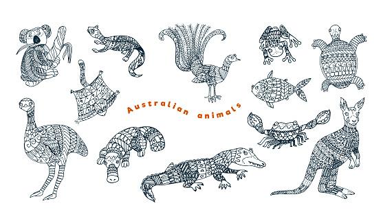 Tribal australian animal vector set.