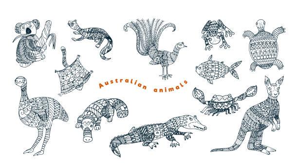 bildbanksillustrationer, clip art samt tecknat material och ikoner med tribal australiska djur vektor set. - platypus