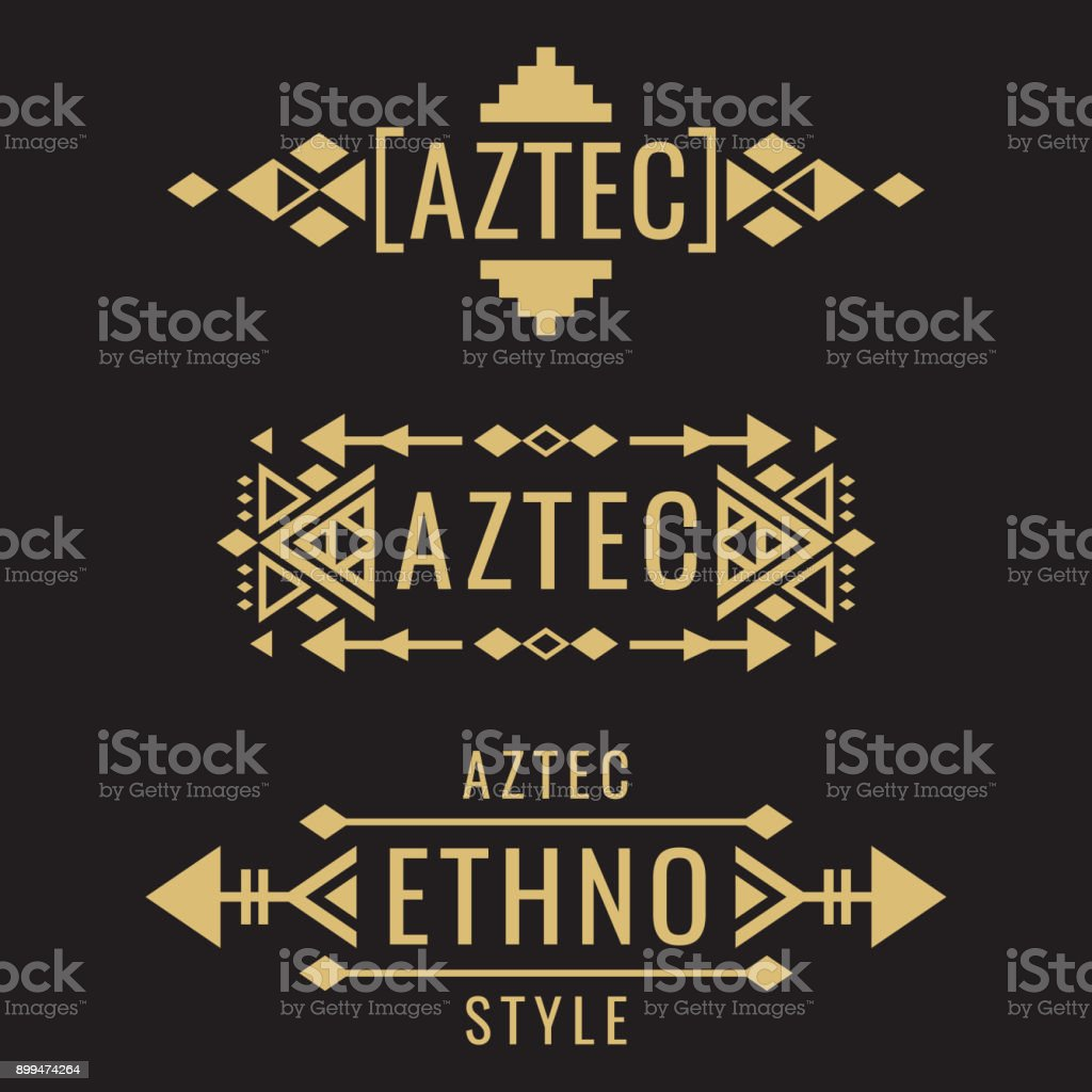 Tribal aztec mexican vector ornaments vector art illustration