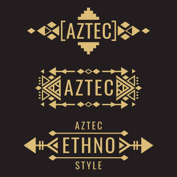 Tribal aztec mexican vector ornaments Tribal old aztec mexican vector ornaments on black background. Vector illustration ethnicity stock illustrations