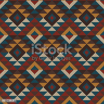 Tribal Aztec Seamless Pattern On The Wool Knitted Texture Stock