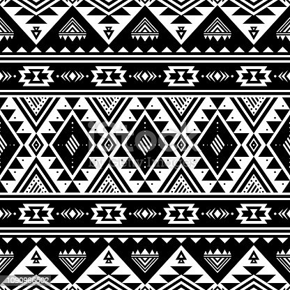 Aztec seamless pattern. Tribal geometric black-white background. Can be used in fabric design for making of clothes, accessories; decorative paper, wrapping, envelope; web design, etc. Vector illustration.