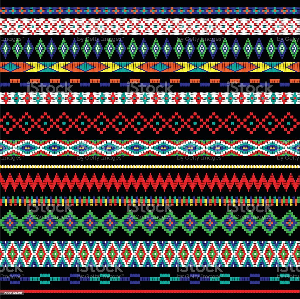 tribal bead stripes vector art illustration