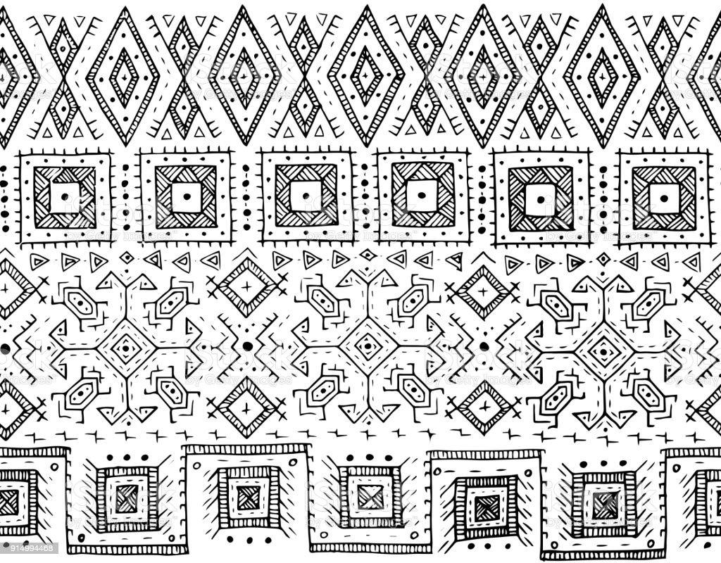 Ilustración de Tribal Blanco Y Negro De Patrones Sin Fisuras Estilo ...