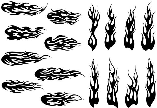 tribal black fire flames tattoo design - fire tattoos stock illustrations, clip art, cartoons, & icons