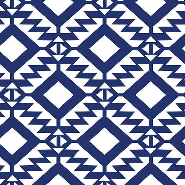 Tribal azul e branco sem costura padrão geométrico - ilustração de arte em vetor