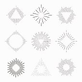 Tribal boho style frame with place for your text with arrows. Starburst hipster logo, line art vector illustration.