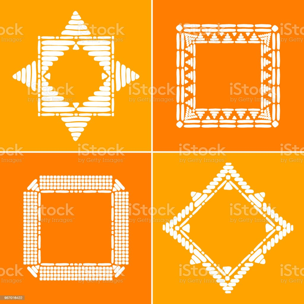 Tribal Border Frames Set Vector African Or Aztec Ethnic Decorative ...