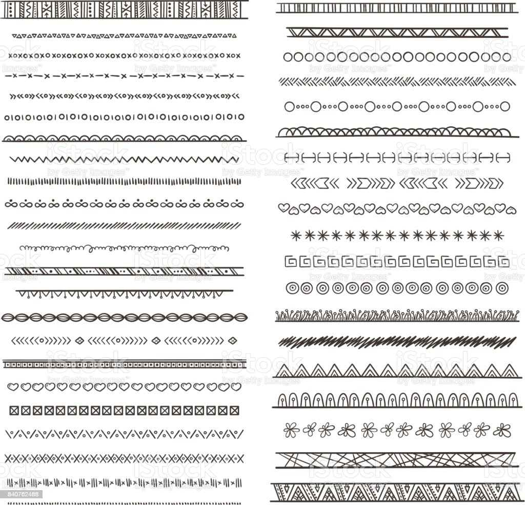 Tribal borders illustrations in boho style. Vector collection isolate. Hand drawn pictures vector art illustration