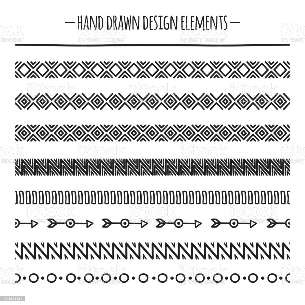 Tribal Brushes Border Ethnic Hand Drawn Vector Line Border Set