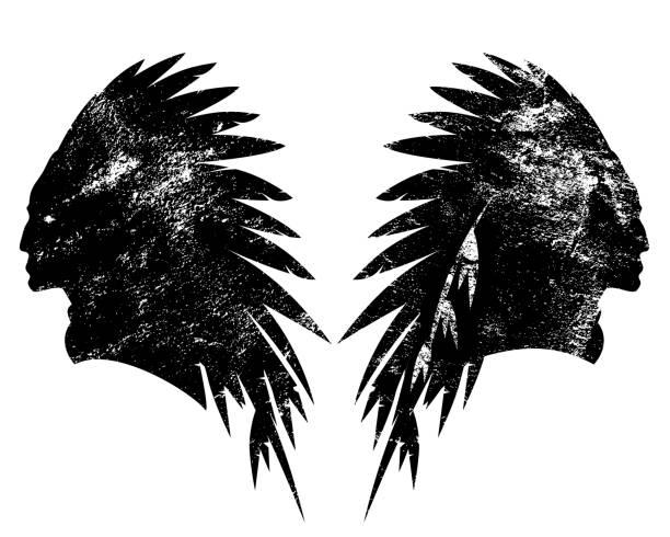 stammes-leiter profil vektor silhouette - kopfschmuck stock-grafiken, -clipart, -cartoons und -symbole
