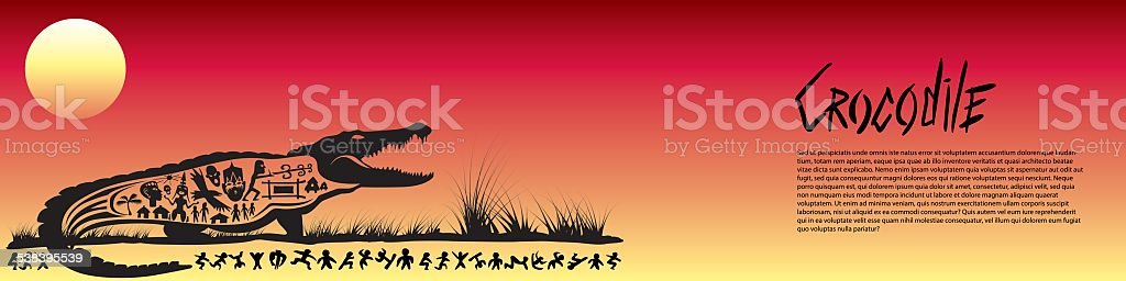 Tribal crocodile banner vector art illustration