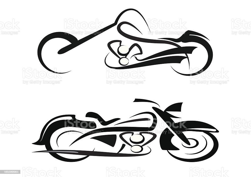 tribal custom and classic motorbike stock vector art