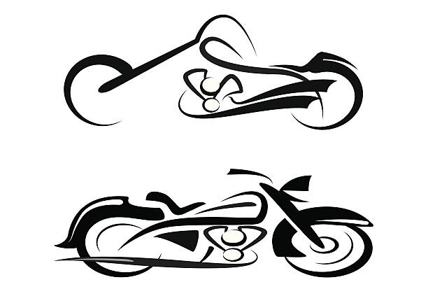 племенное custom motorbike и классические - four seasons stock illustrations