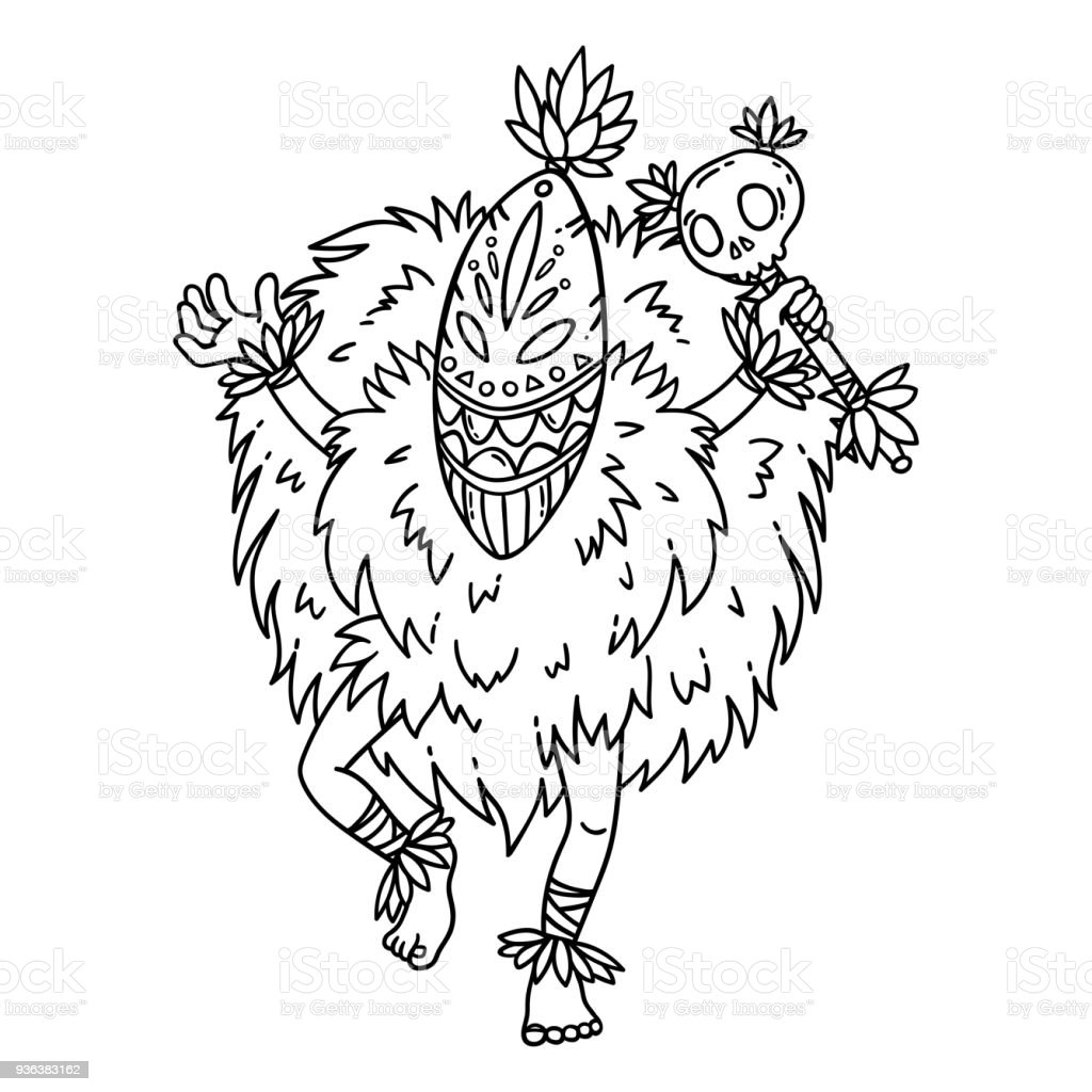 Ilustración de Bailarina De Tribal Página Para Colorear y más banco ...