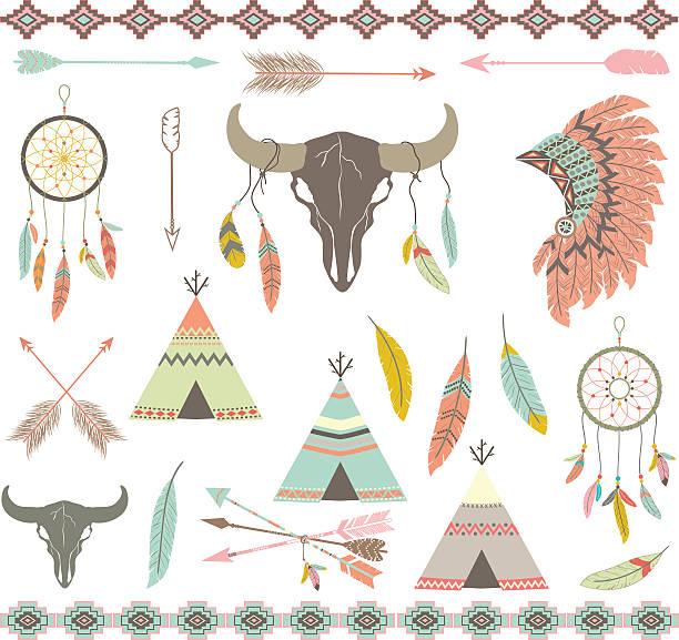 Tribal decorative Elements set. The Vector for Tribal decorative Elements set.Feathers,Indian Dream Catcher,Arrow,Aztec Tribal,Feather Headdress,Teepee Tents,Skull. teepee stock illustrations
