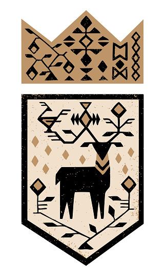 Tribal Deer Coat Of Arms