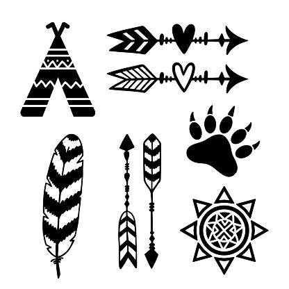 Tribal design elements: sun, arrows, feather, tribe, bear paw.