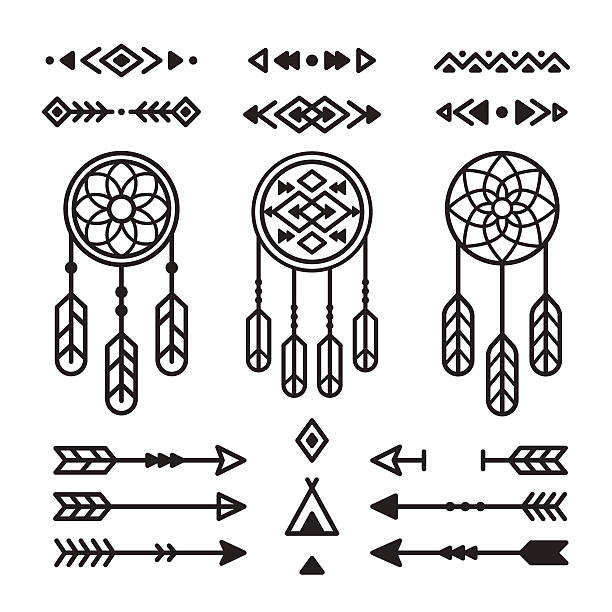 Tribal design elements Native American Indian design elements set. Borders, arrows, dreamcatchers, ornaments and other symbols. Tribal vector elements in modern geometric style. dreamcatcher stock illustrations
