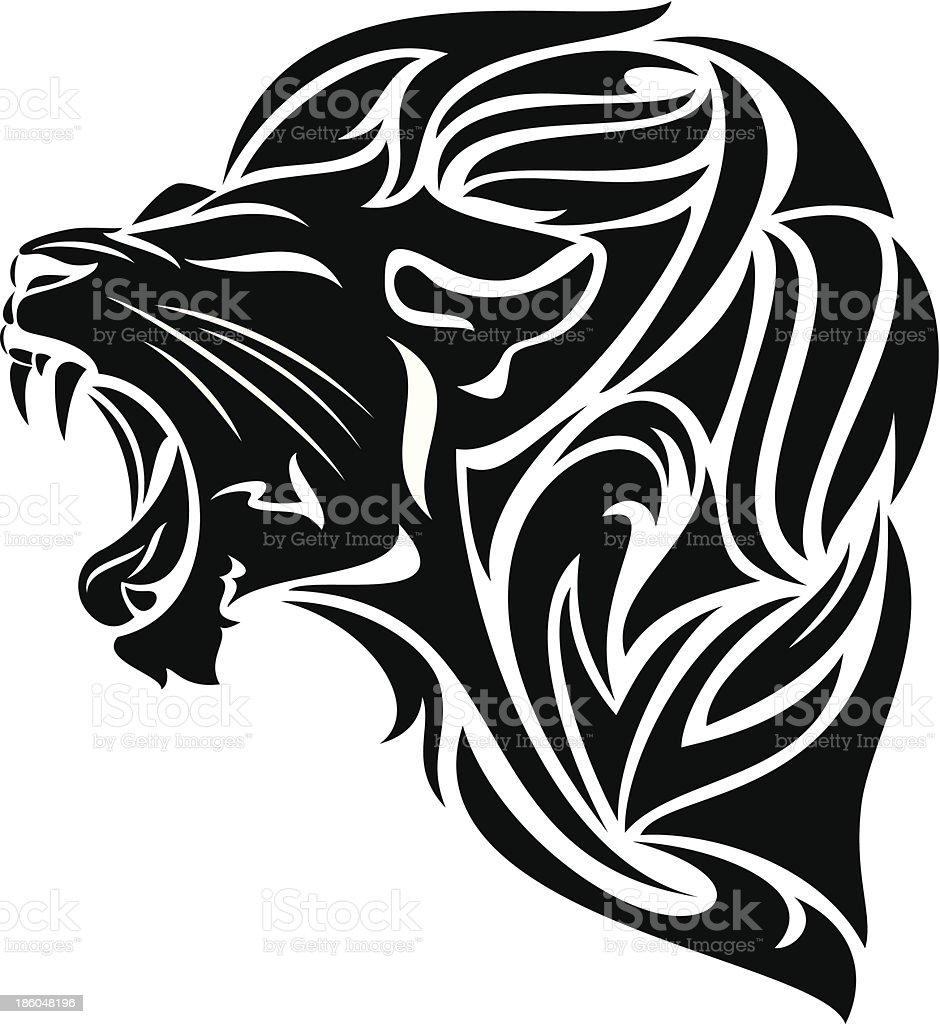 Tribal design of a lion roaring vector art illustration