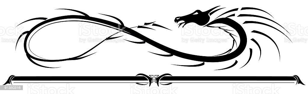 Tribal Dragon Border royalty-free stock vector art