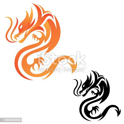 Tribal dragon fire vector icon for graphic design, web and app. Abstract design animal mythology. Vector illustration EPS.8 EPS.10