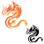 Tribal dragon fire vector icon for graphic design, web and app