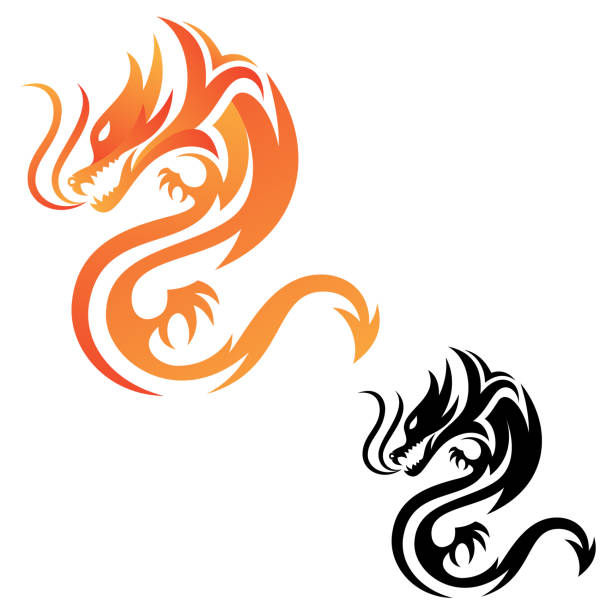 tribal dragon fire vector icon for graphic design, web and app - dragon stock illustrations